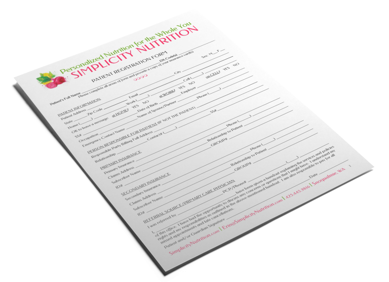 Simplicity Nutrition Registration Form